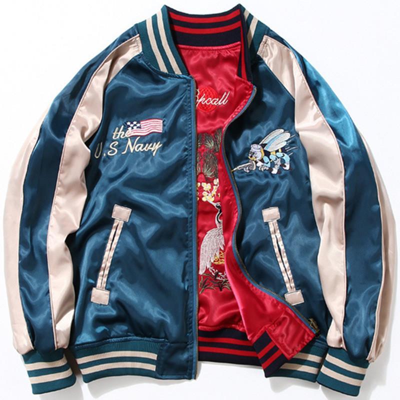 2020 Men Women Fashion Japan Yokosuka Embroidery Jacket Vintage Baseball Uniform Both Sides Wear Hip Hop Bomber Jackets Coats