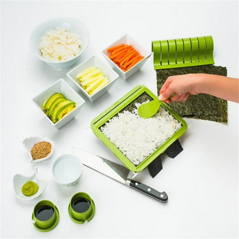 New Sushi Making Kit DIY Easy Sushi Maker Machine Set Rice Roller Mold Roller Cutter Kitchen Cooking Tools IC678751