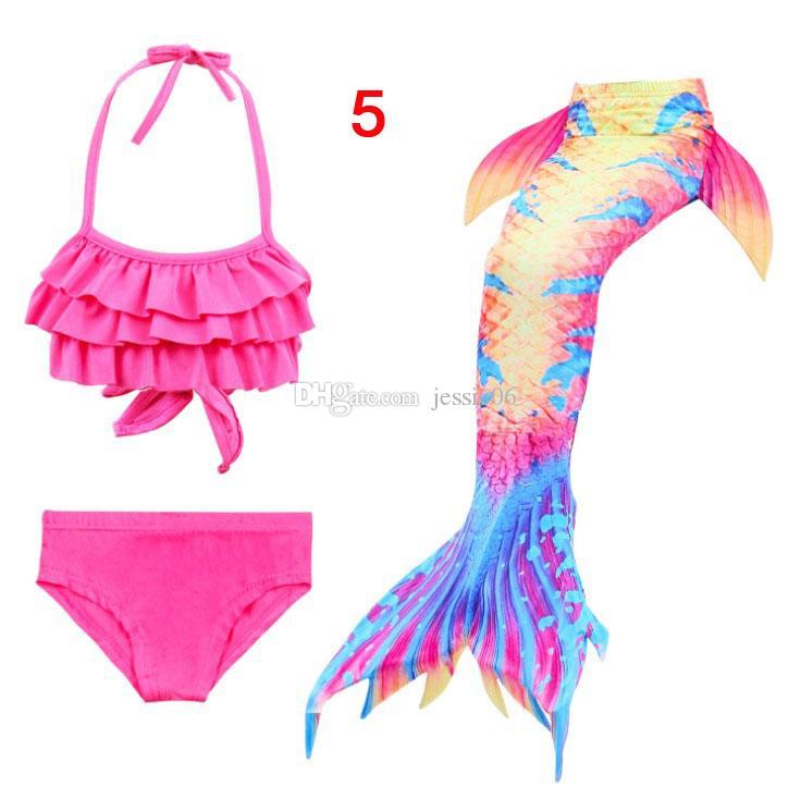 Costume da sirena per bambini Mermaid Tail Costume da bagno Mermaid Swimwear Bikini Kids nuoto 3 pezzi Set cerniera 23 stili regalo caldo EMS Free
