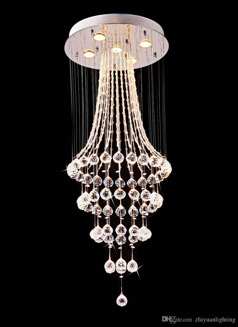 Modern Chrome Crystal LED Ceiling Lights Bedroom Lamp Fitting Chandeliers H