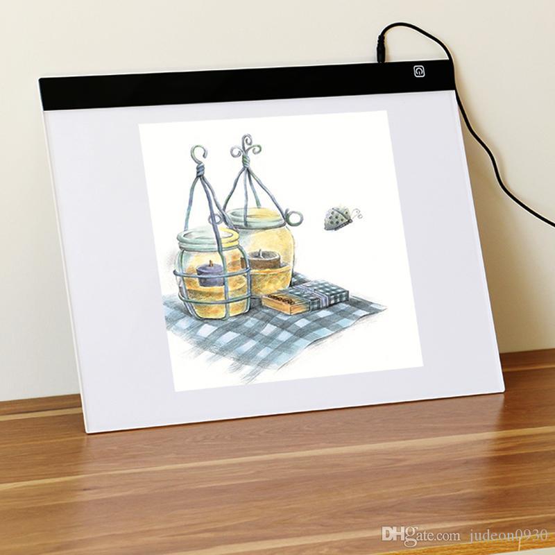 A3 Portable LED Traçage Lumière Pad Dessin Planche À Dessin Artiste Dessin Planche Tableau Tracer pour Croquis, Dessin, Tatouage (port DC)