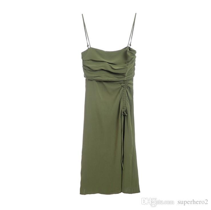 Vintage pleated suspender skirt in the long paragraph Slim bottoming dark green wrapped chest dress summer new style Casual Dresses