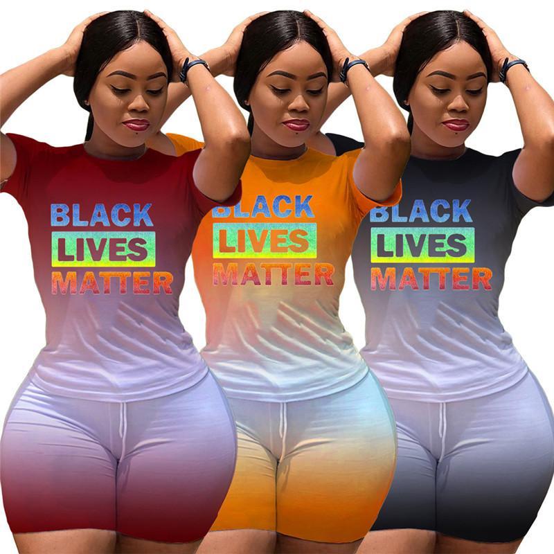 Fashion Frauen Shorts Anzug Schwarz Lives Matter Brief 2-teiliges Set Kurzarm T-Shirt + Shorts Outfits Sommer Street Anzug S-2XL 2020