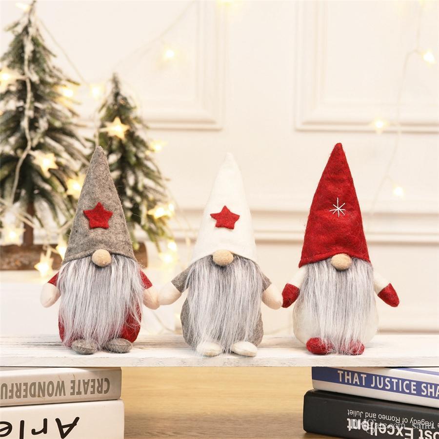 Stella Cappello di Natale scandinavo svedese Babbo Gnome bambole della peluche Tabella ornamenti fatti a mano Elf giocattolo farcito Casa decorazione del partito JK1910