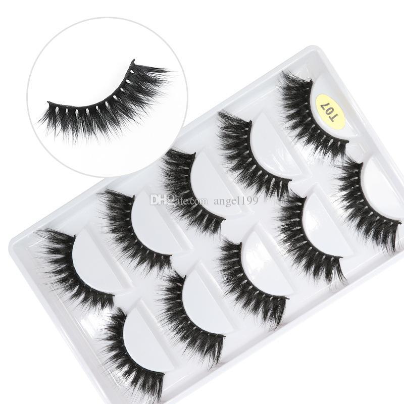 T07 factory wholesale price 7 styles 5pais EyeLashes Natural false Eyelashes 5 pairs 3D mink eyelashes silk eyelash Free shipping