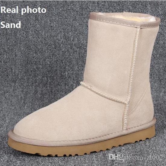 HOT WGG 호주 스노우 부츠 방수 겨울 암소 스웨이드 가죽 부츠 야외 남성 신발 플러스 사이즈 EUR 37-45