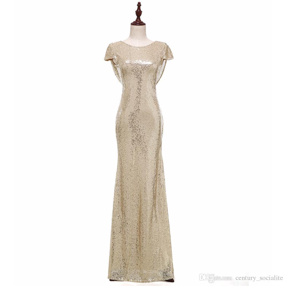 Großhandel Goldene Abendkleider 12 Hotsale Brautjungfernkleider Lange  Ballkleider Capped Sleeves Mantel Pailletten Hotsale Plus Size Customized