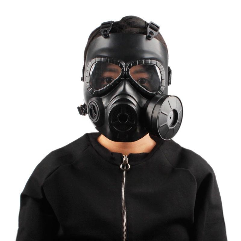 2018 deporte al aire libre del casco doble filtro Máscara de gas Máscara Máscara de transpiración CS Ejército táctico con el ventilador Proteja Casco