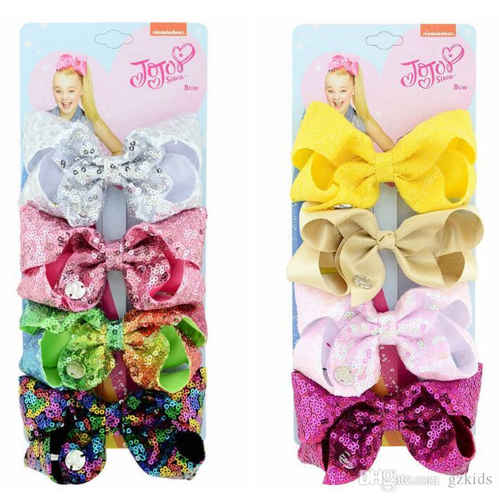 JOJO SIWA hair bows European and American New Four color one card 4 inch children's sequined bow