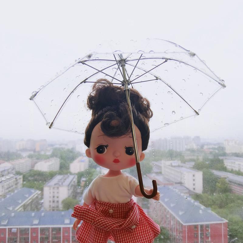 1 UNIDS 1/6 Precioso Paraguas Transparente para Blyth, Holala, Barbi, Azone, Muñeca BJD Accesorios de Decoración de Casa de Muñecas de Juguete