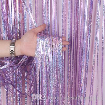 Directo de fábrica barato 1 * 3 m láser cortina de lluvia fondo de la fiesta de cumpleaños de la pared princesa niños decoración del partido cortina