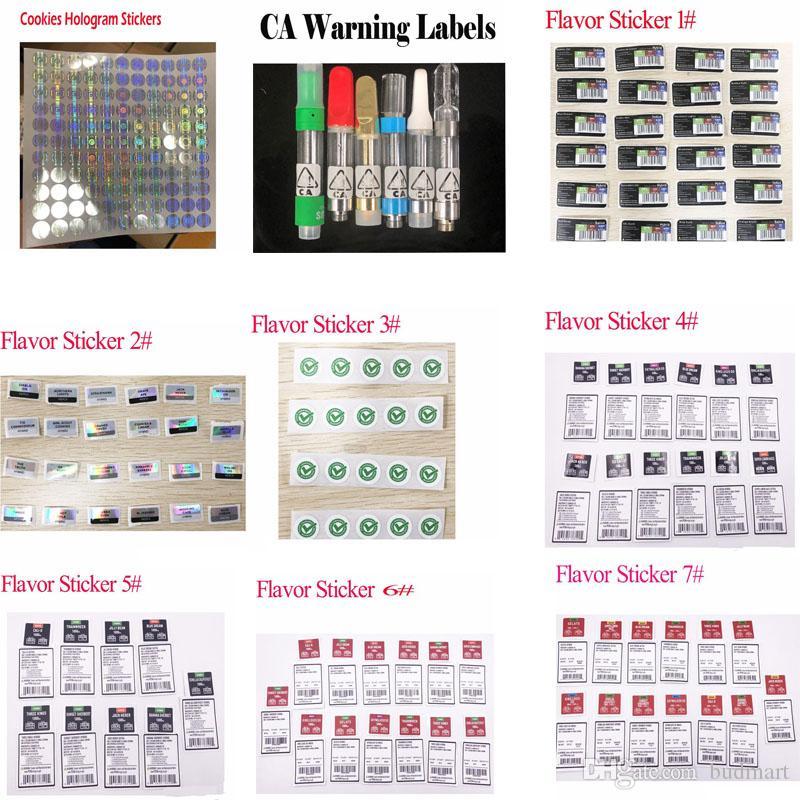 Jungle Ragazzi cookie ologramma Stickers CA etichette di avvertimento cartuccia Vape Sapore Strain Sticker Labels tipi cartuccia dell'olio Style OEM accolto favorevolmente