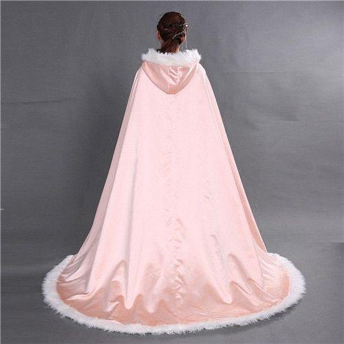 2020 Bridal Winter Wedding Long Hooded Faux Fur Shawl Cloak Cape Bridal Mantles Wraps