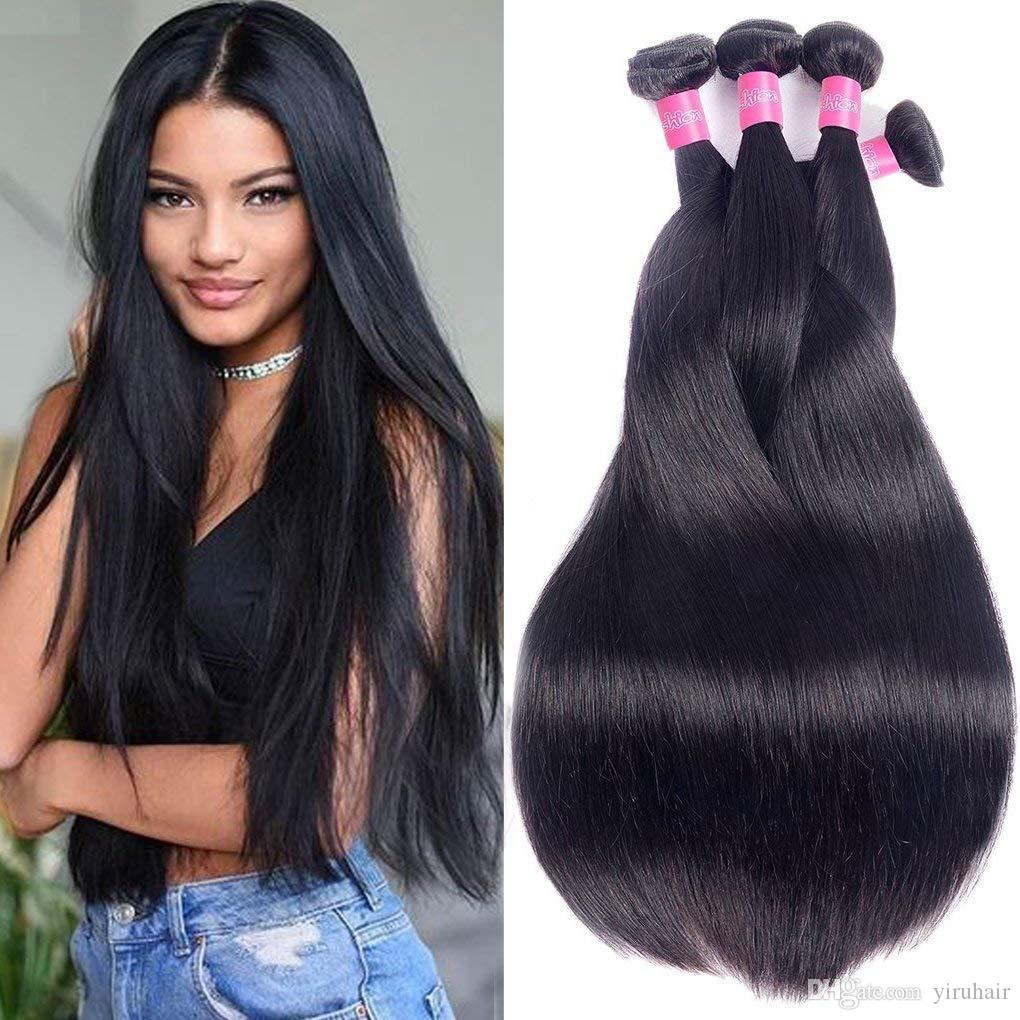 Estensioni brasiliane dei capelli umani 3 pacchi dritti seta 95-105g / piece capelli vergini dritti 3pcs / lot colore naturale 8-30 pollici