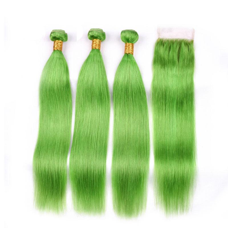 النقي الضوء الأخضر مستقيم ريمي الشعر الإنسان النسيج حزم 3 اللحمة الحياكة مع 4X4 الرباط إغلاق شحن مجاني