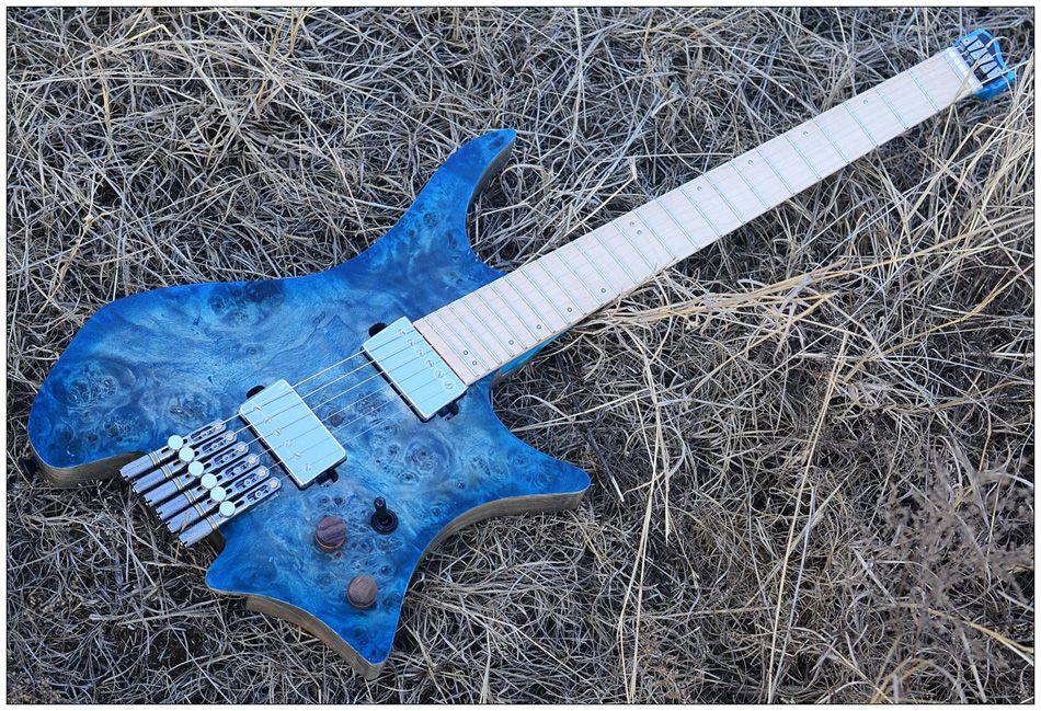 Fabrika Özelleştirilmiş Toptan Başsız Gitar Modeli Mavi Gözlü Kavak Kaplama Üst Alev Maple Gitar Ücretsiz Kargo Fan şeklindeki