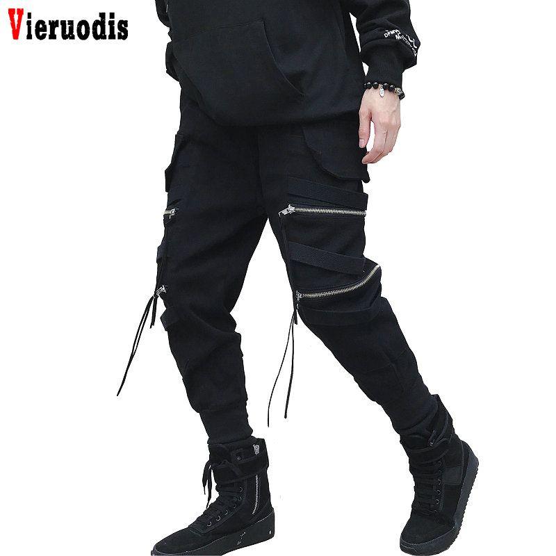 Men New Black Zipper Ribbon Harem Pants Cotton Casual Slim Street Style Ankle Length Sweatpants Men Hip Hop Streetwear Joggers