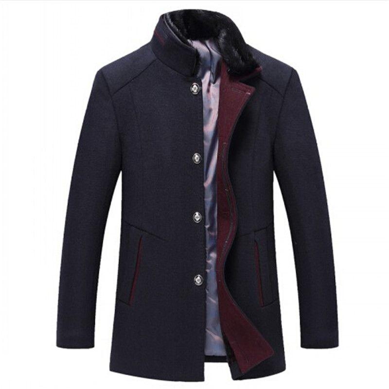 Мужская шерстяная смесь 2021 зимние высококачественные пальто 38% шерстяной повседневной траншеи с меховой воротником ветровая куртка
