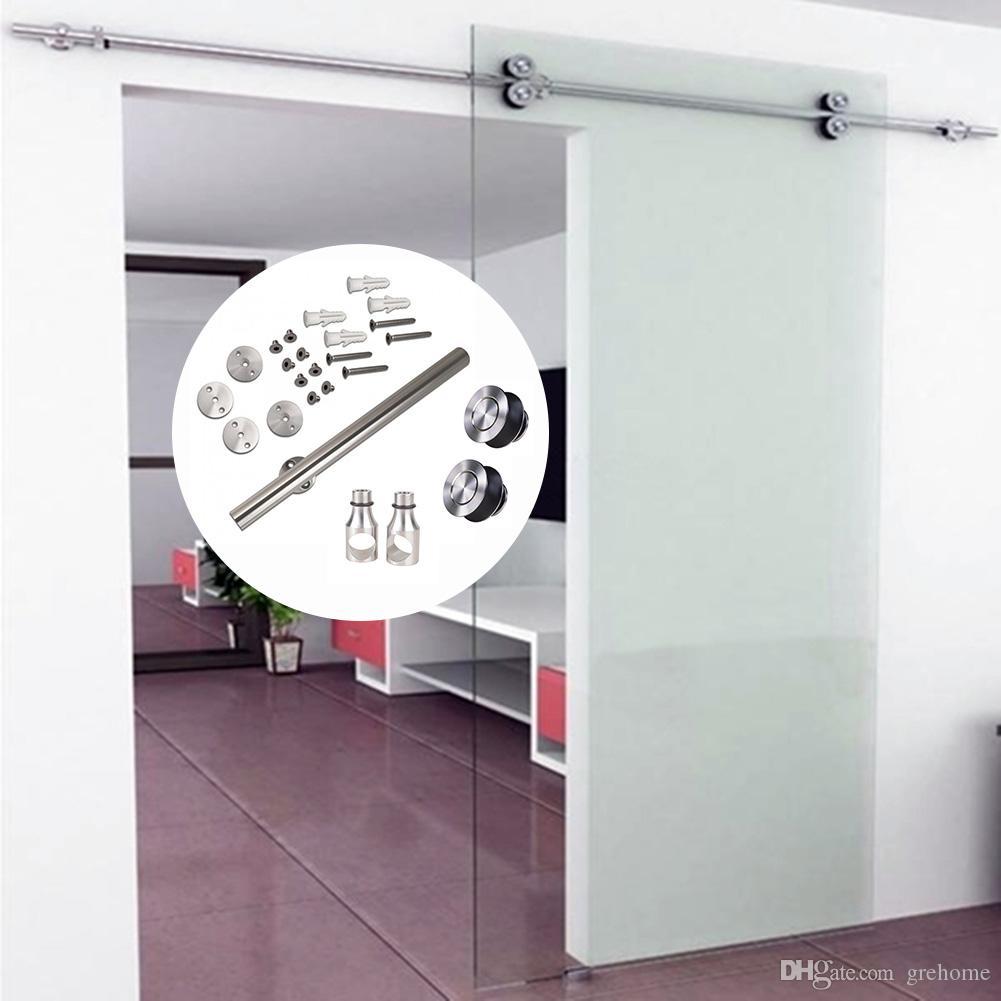 Negro 200 cm Juego de Herraje para Puertas Corredera Carril para Puerta Deslizante Riel de Puerta de Granero Corrediza Kit de Accesorios de Puerta de Servicio Pesado