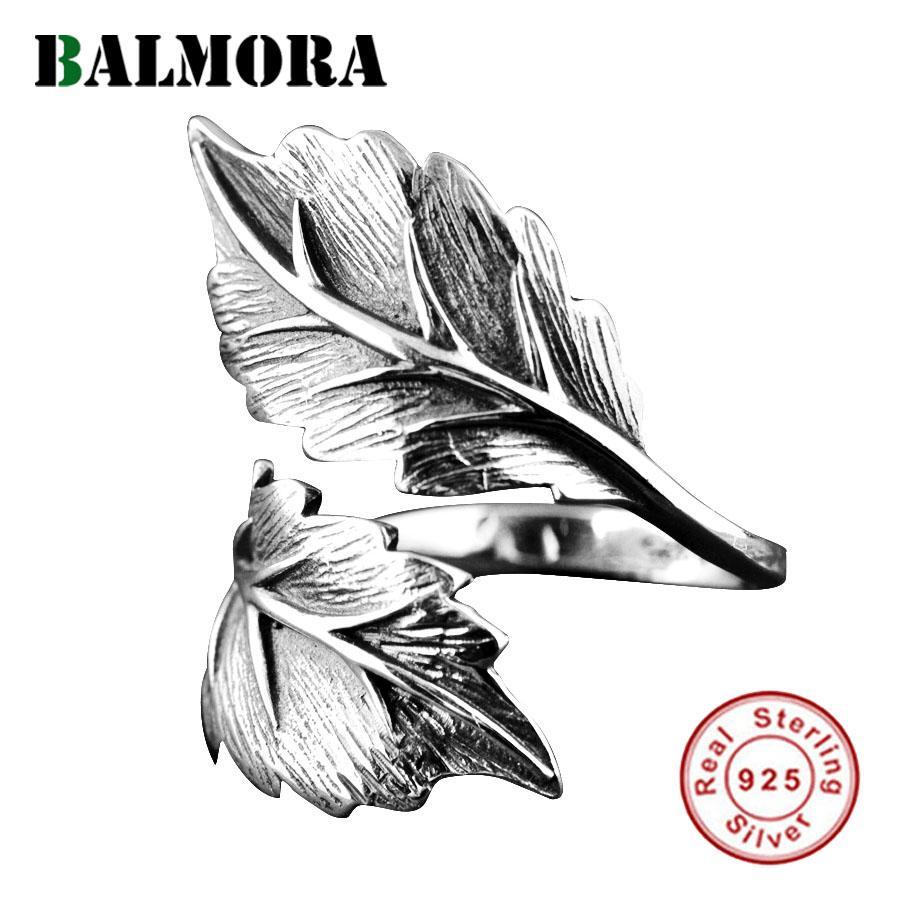Balmora 100% réel Argent 925 feuilles Ouvert Bagues pour Femmes Hommes Party Cadeau Retro Fashion Ring Thai Bijoux en argent SY22071