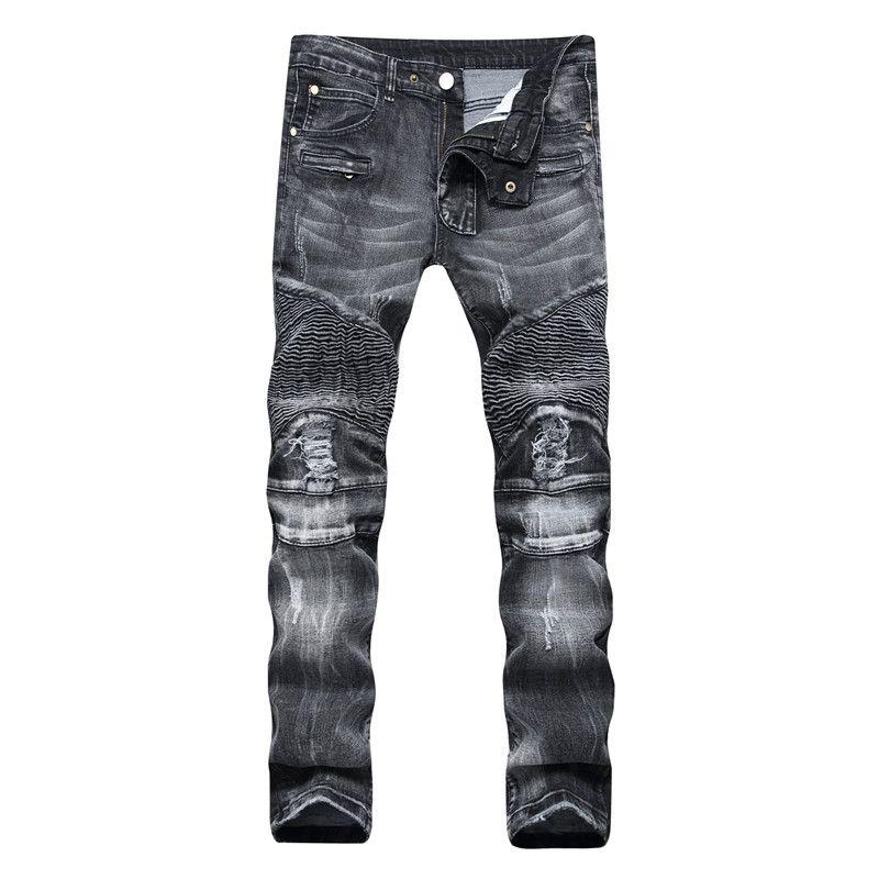 Skinny Jeans Ripped Affligé Fashion Designer Hommes Shorts Jeans Slim Moto Moto Biker causales Hommes Jeans Denim Jeans Hip Hop Hommes