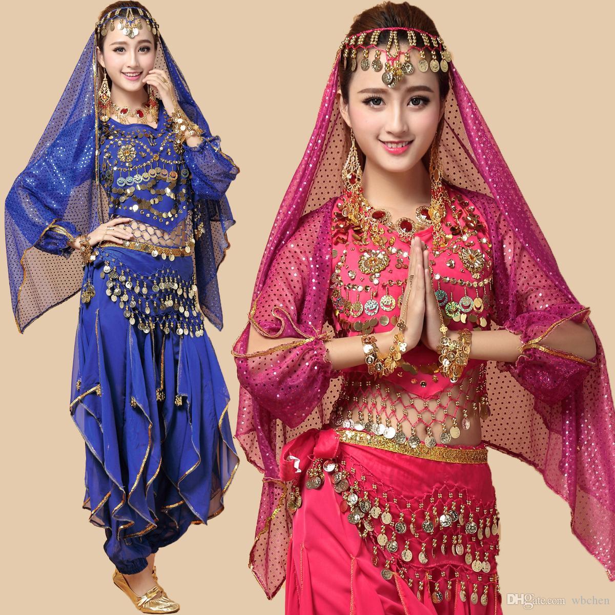 Manches longues Belly Dance Costume Set (Top + Pantalon + Ceinture + Voile + Bracelets) Déguisements scène Performance Bollywood Indian Dancewear Vêtements