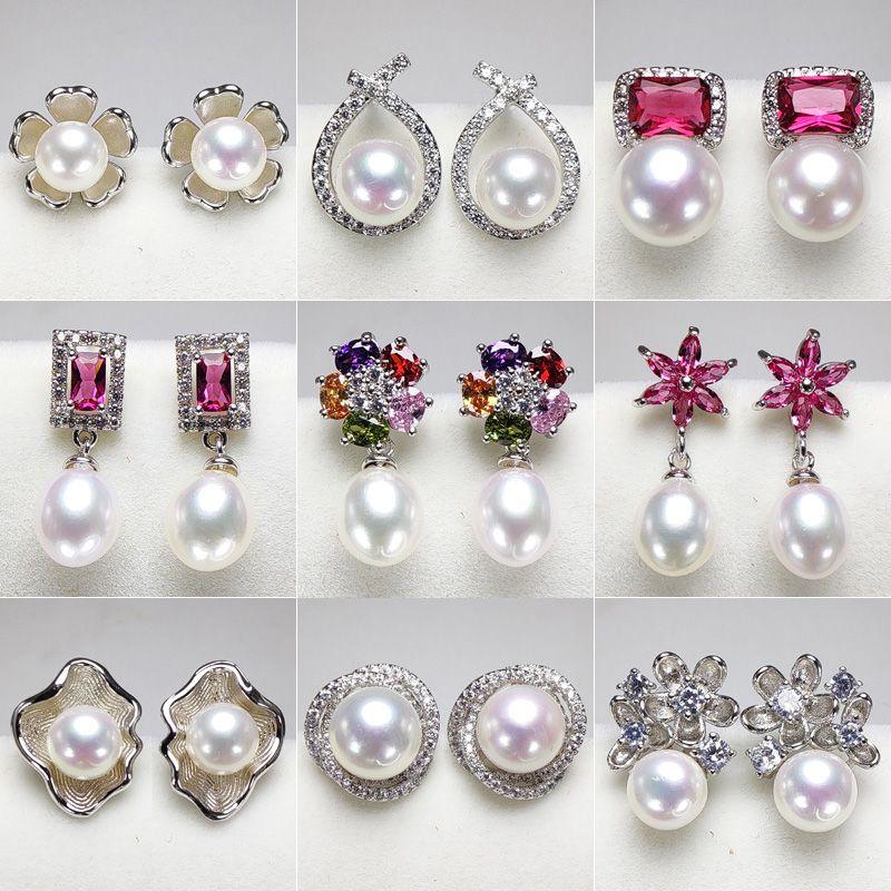 여성 웨딩 패션 보석 선물 도매 진주 귀걸이 설정 S925 실버 스터드 귀걸이 액세서리 DIY 진주 귀걸이