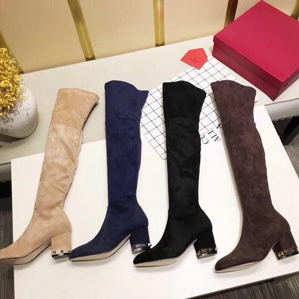Le plus créateur de mode à la mode haute en daim de soie sur les bottes du genou café couleur champagne noir bleu partie de corps mince avec des bottes 35-40