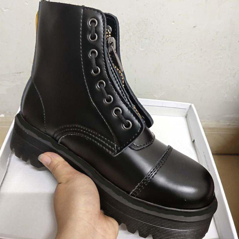 디자이너 프론트 지퍼 플랫폼 부츠 8 홀 5cm 여성 겨울 신발 검은 발목 보지 크기 35-41