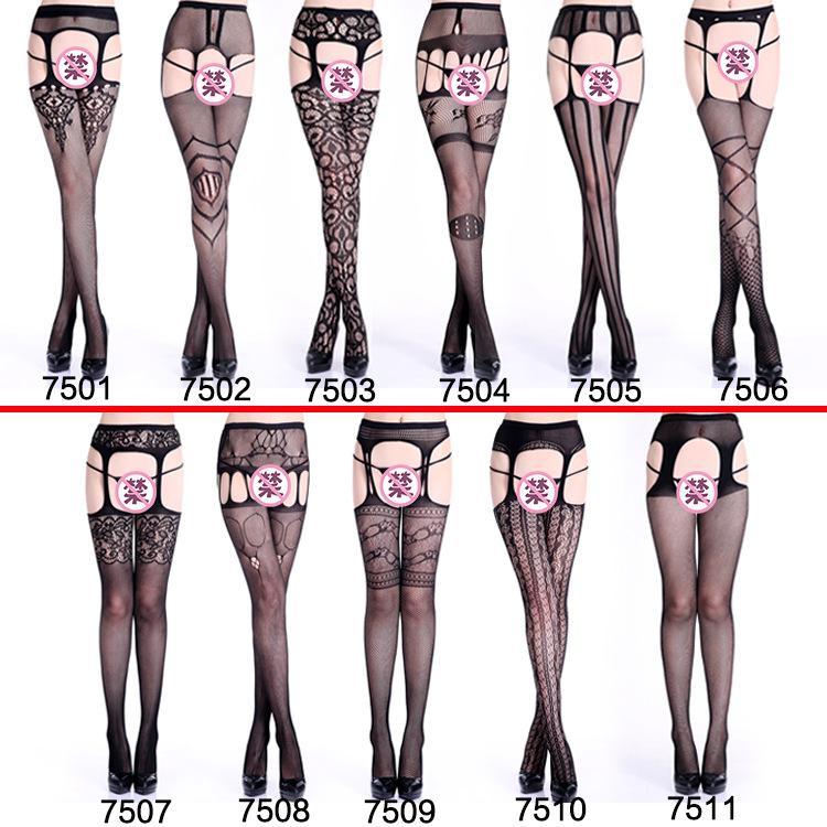 Seksi çoraplar Dört tarafı açık kasık seksi iç çamaşırı içi boş jartiyer jakar tayt büyük örgü file Avrupa ve Amerika