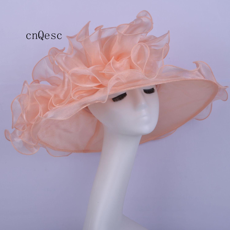 2019 Cappello di organza a tesa larga in organza rosa nuda Cappello da donna Cappello da cerimonia formale per festa di gare di matrimonio in chiesa nel Kentucky Derby