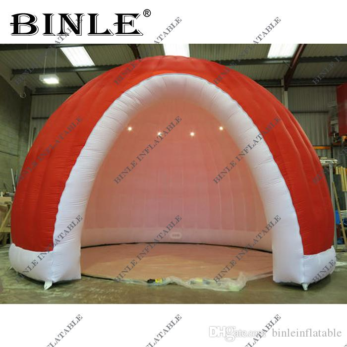 Internal LED lighted red inflatable dome tent with square windows inflatable igloo for party wedding advertising
