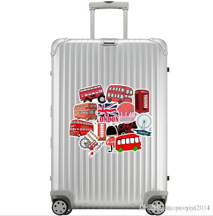 Prix bas Londres Rouge Style Autobus Autocollants Bagagerie Valise Trolley Ordinateur Portable Planche à roulettes de guitare étanche Doodle autocollants frais bricolage