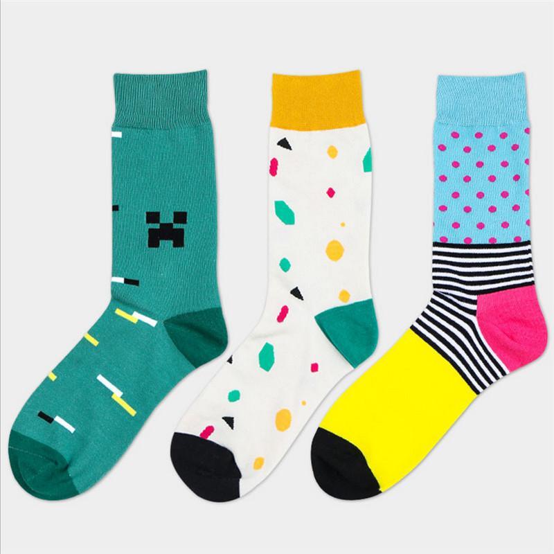 Recommander !! chaussettes pour hommes coton confortable chaussettes longues heureux coloré respirant l'homme et de style masculin de rue art drôle