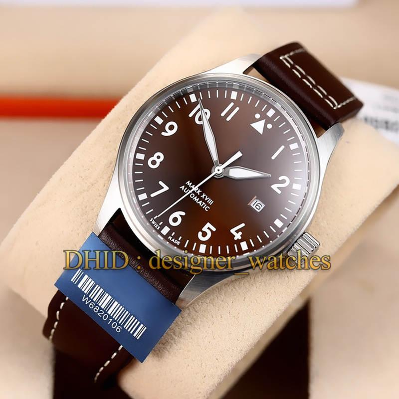 Sport Mens Orologi 327003 40 millimetri Mechanical Man Autoamtic Movimento Sapphire Brown Dial pelle di vacchetta Wrisrtwatches banda montre de luxe