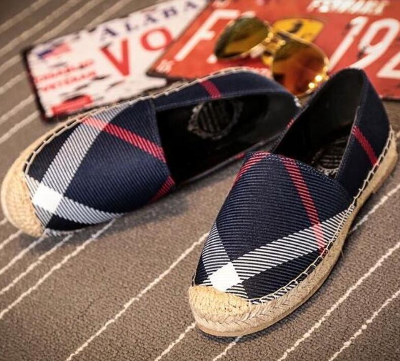 Yüksek kaliteli kadınlar içeride Ekose kanvas ayakkabı süet taban tembel balıkçı ayakkabı lüks tasarımcı V1 tendonu yuvarlak kafa saman dokuma keten sığır