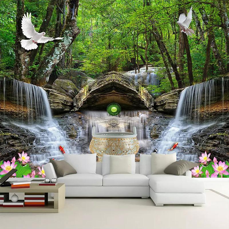 Cachoeira Paisagem Dropship encomenda da foto 3D Wallpaper Nature Mural Wallpapers para sala de estar Quarto Casa de banho impermeável Wallpaper