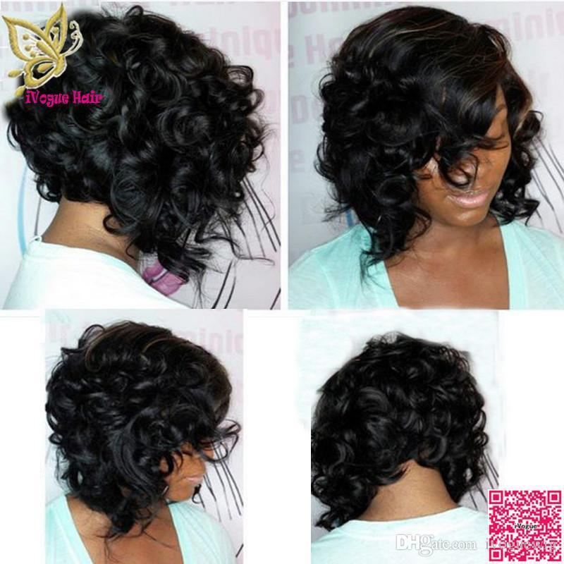 Short Human Hair Lace Front Wigs Loose Curly Malaysian Unprocessed Human Hair Full Lace Wigs With Side Bangs & Baby Hair