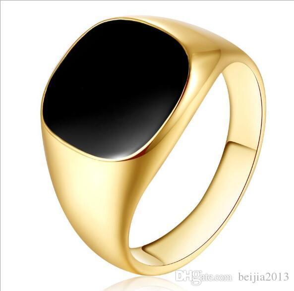 O envio gratuito de homens anel venda quente clássico homens anel de dedo 18 k banhado a ouro moda jóias anel de esmalte preto