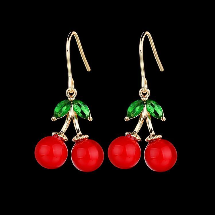 smeraldo cristallo di alta qualità 15 * 31 millimetri di ciliegio intarsiato orecchini di alta corallo rosso perla orecchini coreana squisita produttore