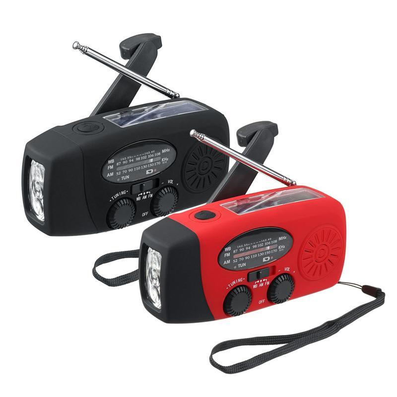 Multifunctional Hand radio Solar Crank Dynamos Powered AM/FM/WB/NOAA Weather Radio Use Emergency LED Flashlight and Power Bank