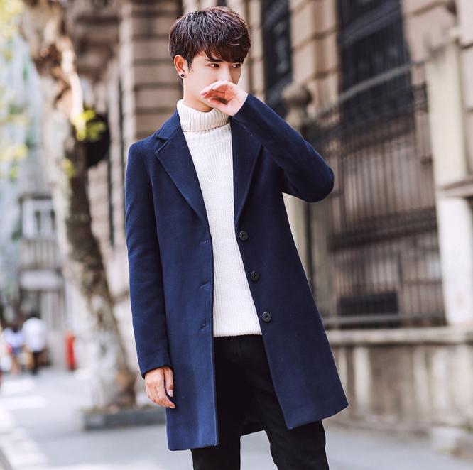 Men's Wool & Blends coat autumn Korean fashion windbreaker slim oversize long jacket men thin overcoat
