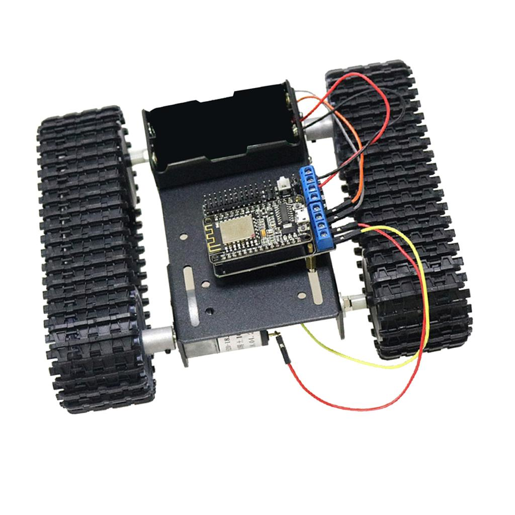 WiFi Nodemcu Steuerung Aluminiumlegierung Strong Motor Tank Car Chassis Spur Crawler Kit für Arduino DIY Roboter Wissenschaft pädagogisches Spielzeug