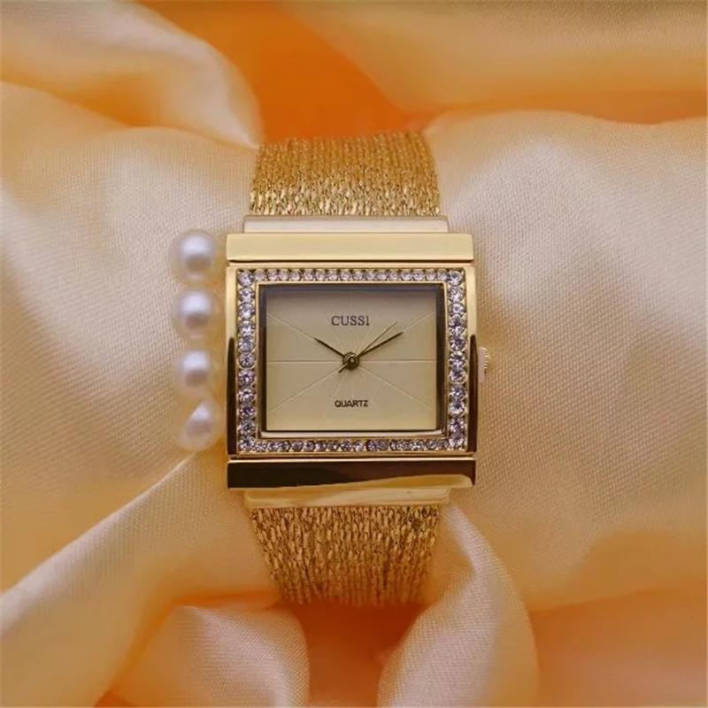 CUSSI Мода женские кварцевые наручные часы 2017 Марка Роскошные дамы браслет часы платье часы Square Щедрый Релох Mujer подарков C19010301