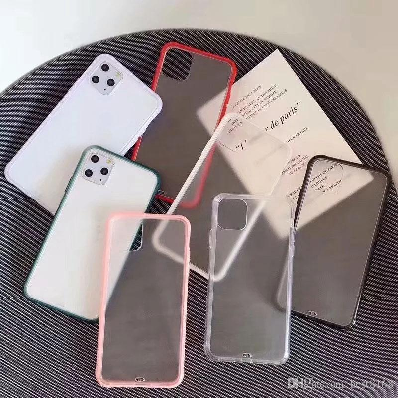 Hit Contrasto ibrida di colore dura glassata PC + Soft TPU per iPhone 12 Mini 2020 11 Pro XS MAX X XR XS 8 7 6 6S opaca copertura sveglia Coque