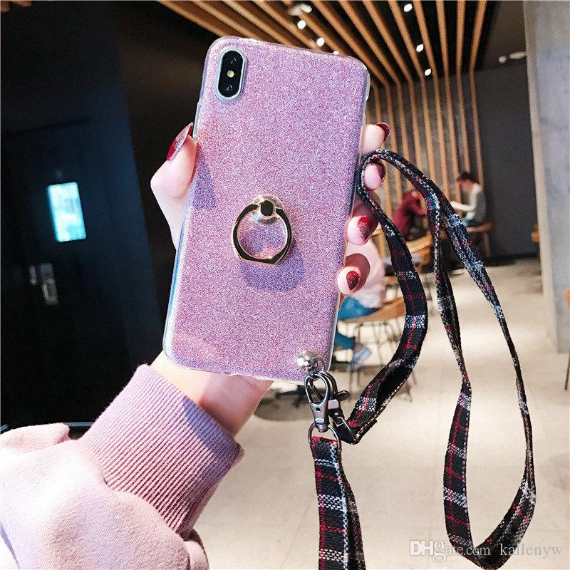 Kawaii Cute Bling Diamond Gliter Finger Ring Holder Phone Case Soft TPU Cover With Neck Strip For iPhone X Xr Xs Max 8 7 6S Plus