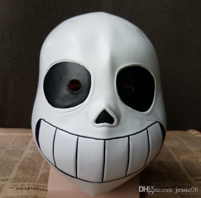 Deluxe Latex Game Undertale Sans Full Head Mask Cosplay Costume Helmet Party Fancy Ball Halloween Christmas Props for Kids White