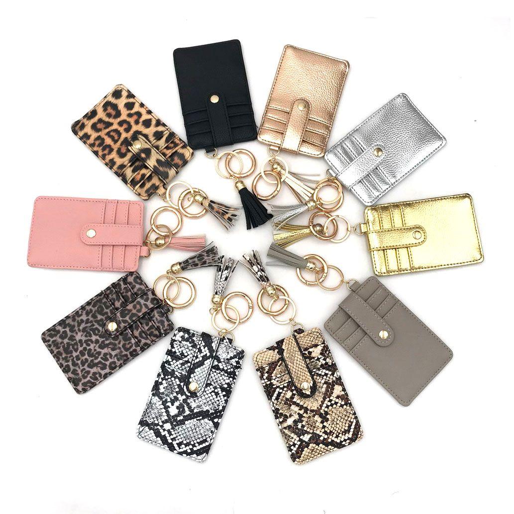Mode Personalisierte Monogramm Tasche Clip Keychain Neue Design Heißer Verkauf PU Leder Quaste ID Kartenhalter Kreditkarte Brieftasche Schlüsselanhänger
