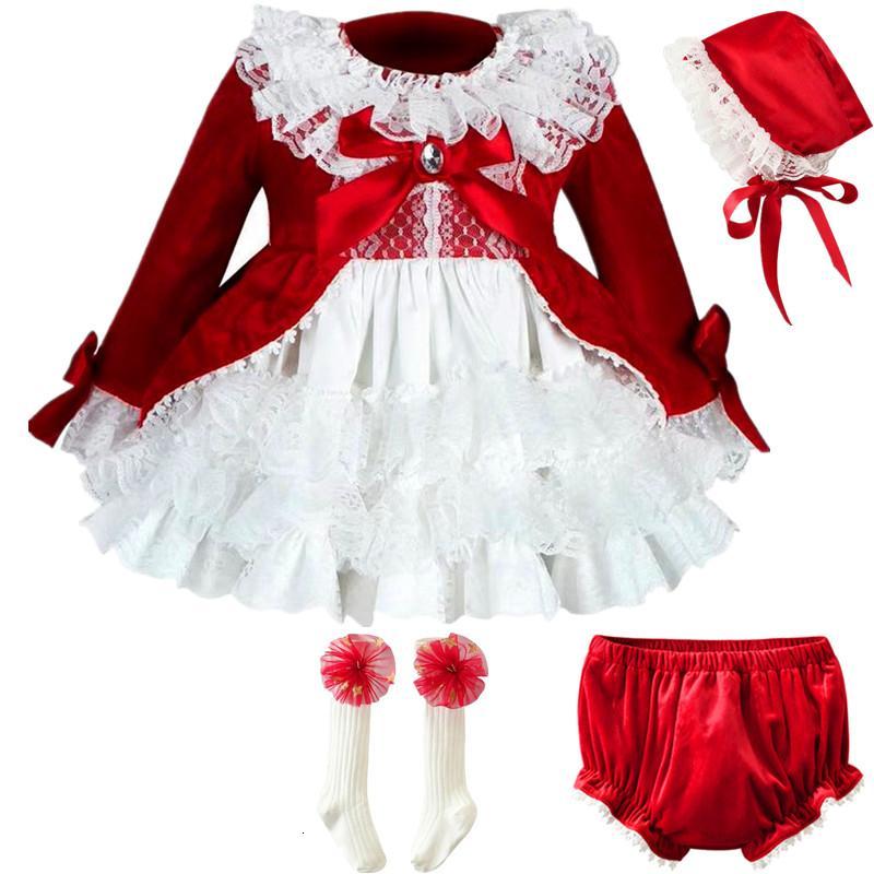Cekcya İspanya Elbise Kız Kraliyet Kostümler Çocuklar Prenses Düğün Doğum Modelleri Parti Dantel Robe Fille Bebek Kız Giyim 4PCS Seti T191018