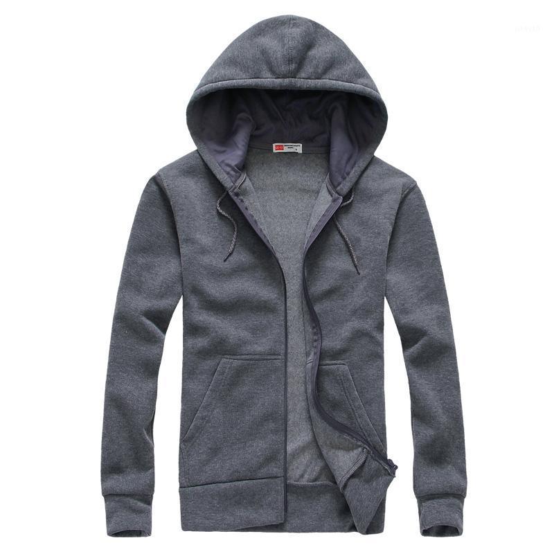 Men's Hoodies & Sweatshirts Men 2021 Spring Solid Color Hooded Jacket Casual Skateboard Hoodie Hip Hop Streetwear Black1